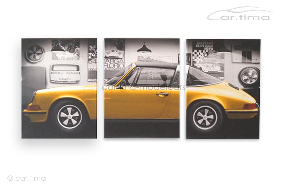 Kunstdruck auf Leinwand/Keilrahmen Porsche 911 Targa gold met. 136,5x60 cm