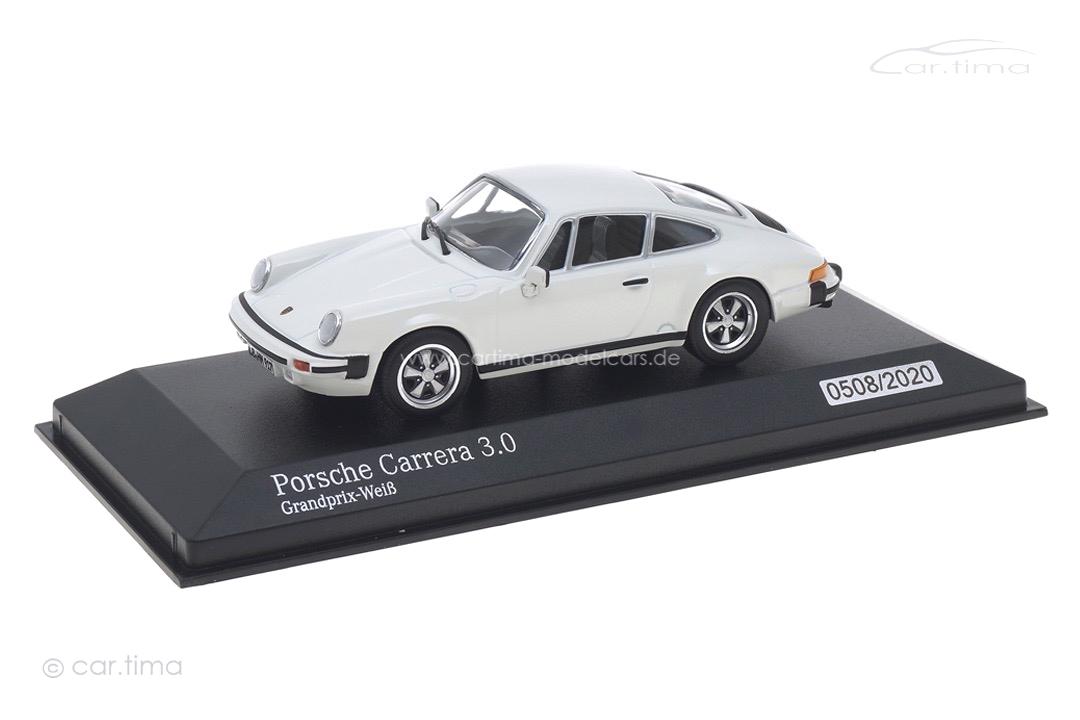 "Porsche 911 Carrera 3.0 Grandprix-weiß ""Hans Mezger 1929-2020"" Minichamps 1:43 943062097"