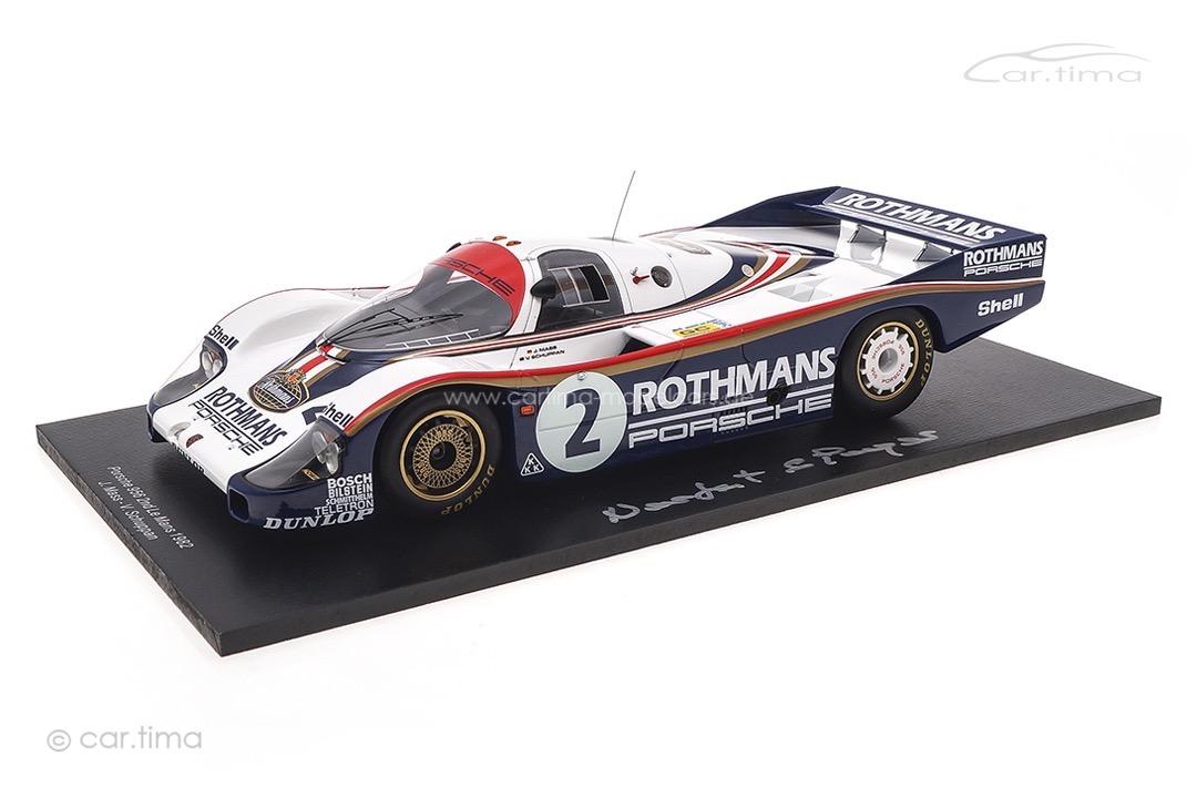 Porsche 956 L 24h Le Mans 1982 Signatur Norbert Singer inkl. Vitrine Spark 1:18 18S423SIG
