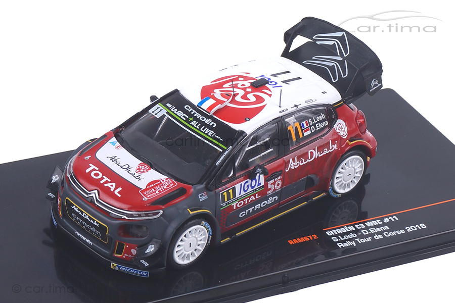 Citroen C3 WRC Rally Tour de Corse 2018 Loeb/Elena IXO Models 1:43 RAM672