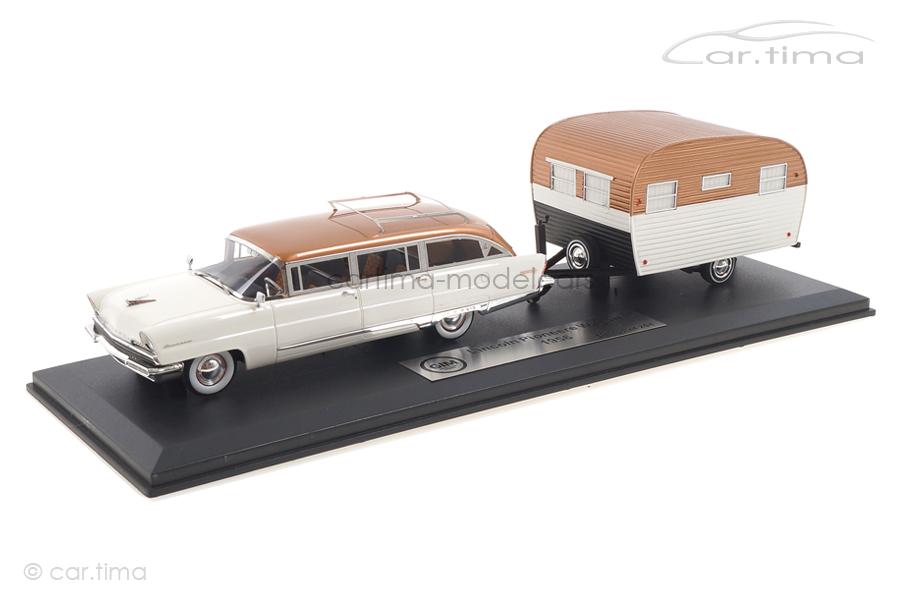 Lincoln Pioneer Station Wagon 1956 mit Wohnwagen weiß/kupfer GIM 1:43 GIM014A