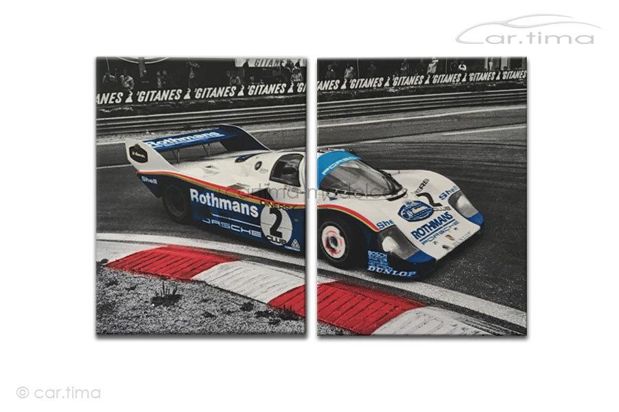 Kunstdruck auf Leinwand/Keilrahmen Porsche 956 K Bell / Bellof 120x80 cm