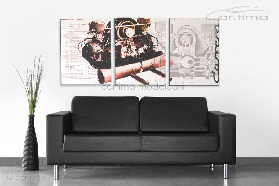 Kunstdruck auf Leinwand/Keilrahmen 356 Carrera Fuhrmann Motor 136,5x60 cm