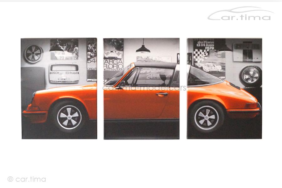 Kunstdruck auf Leinwand/Keilrahmen Porsche 911 Targa orange 136,5x60 cm