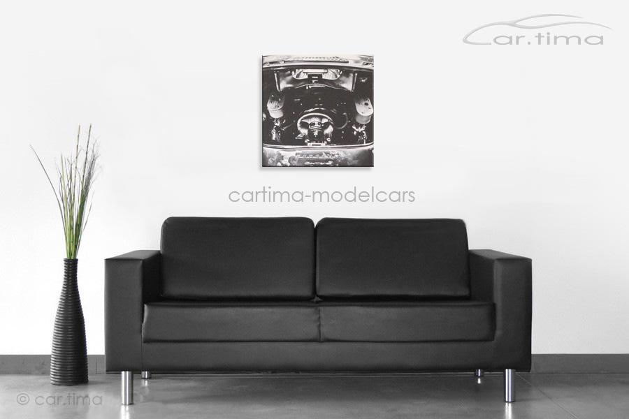 Kunstdruck auf Leinwand/Keilrahmen Porsche 356 Carrera Fuhrmann Motor 45x45 cm
