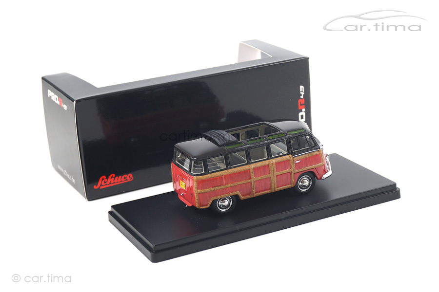 """VW T1 Samba """"Woody"""" schwarz/rot Schuco 1:43 450894300"""