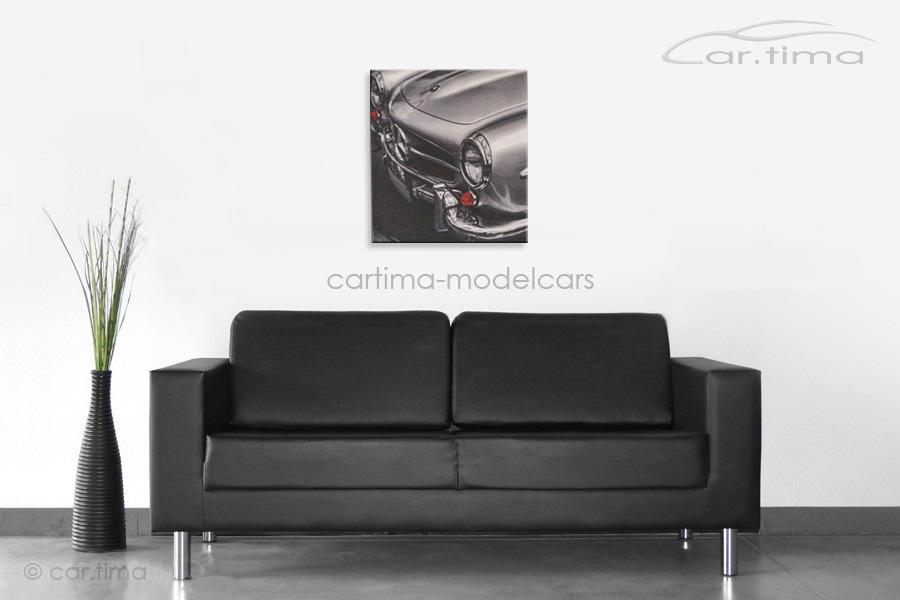 Kunstdruck auf Leinwand/Keilrahmen Mercedes-Benz 190 SL silber 45x50 cm