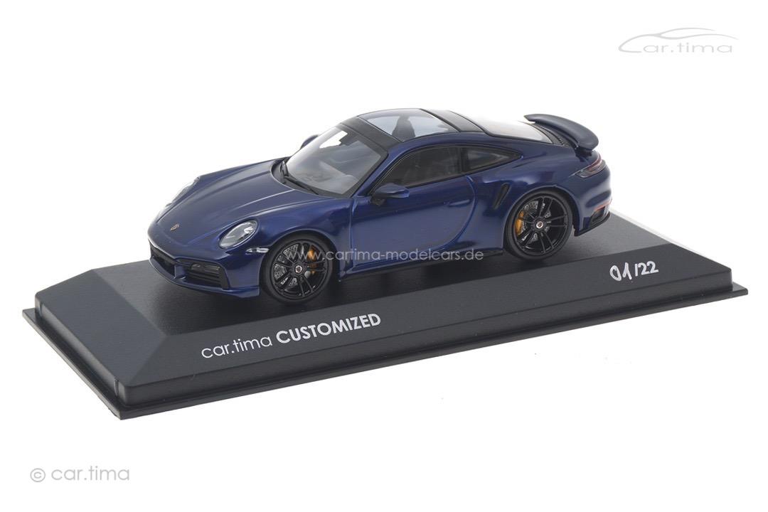 Porsche 911 (992) Turbo S Enzianblau/Rad schwarz Minichamps car.tima CUSTOMIZED CAC04321034