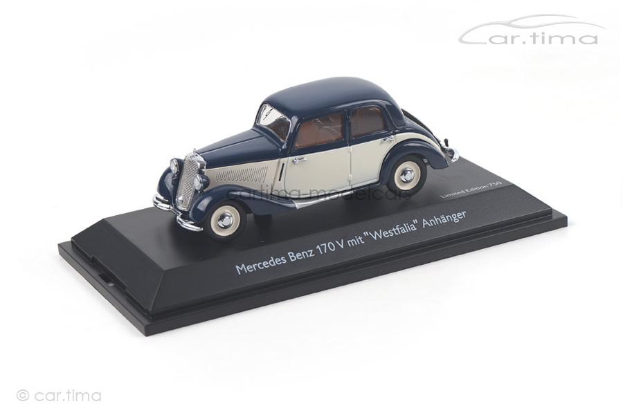 Mercedes-Benz 170 V mit Westfalia Anhänger Schuco 1:43 450246500