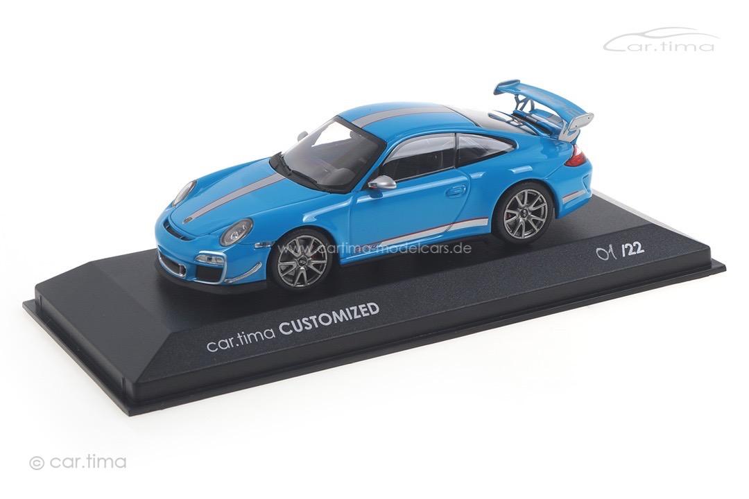 Porsche 911 (997 II) GT3 RS 4.0 Rivierablau/Rad silber Minichamps car.tima CUSTOMIZED 1:43