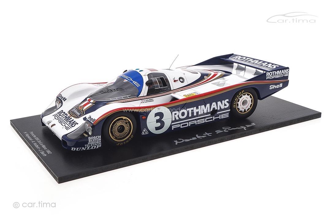 Porsche 956 L 24h Le Mans 1982 Signatur Norbert Singer inkl. Vitrine Spark 1:18 18S424SIG