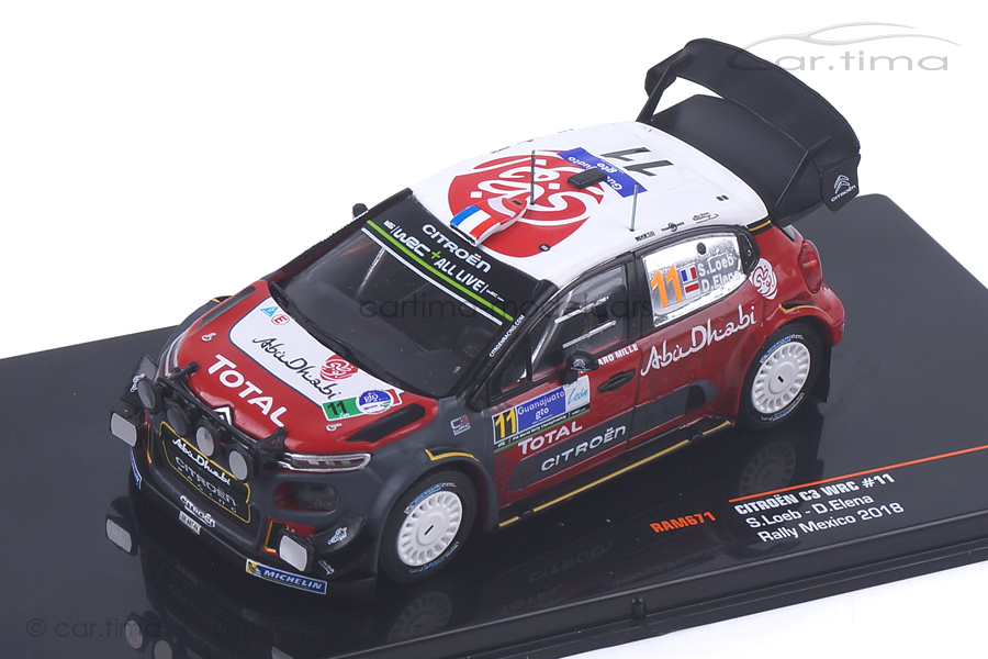 Citroen C3 WRC Rally Mexico 2018 Loeb/Elena IXO 1:43 RAM671