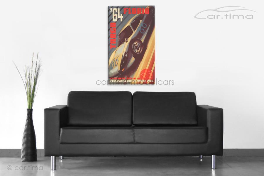Kunstdruck auf Leinwand/Keilrahmen Porsche 904 Targa Florio 50x80 cm