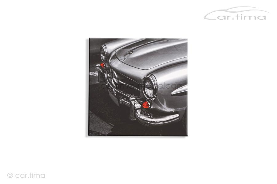 Kunstdruck auf Leinwand/Keilrahmen Mercedes-Benz 190 SL silber 45x45 cm