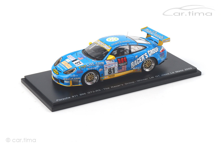 Porsche 911 (996) GT3 RS Class Winner 24h Le Mans 2002 Buckler/Bernhard/Luhr Spark 1:43 S5517