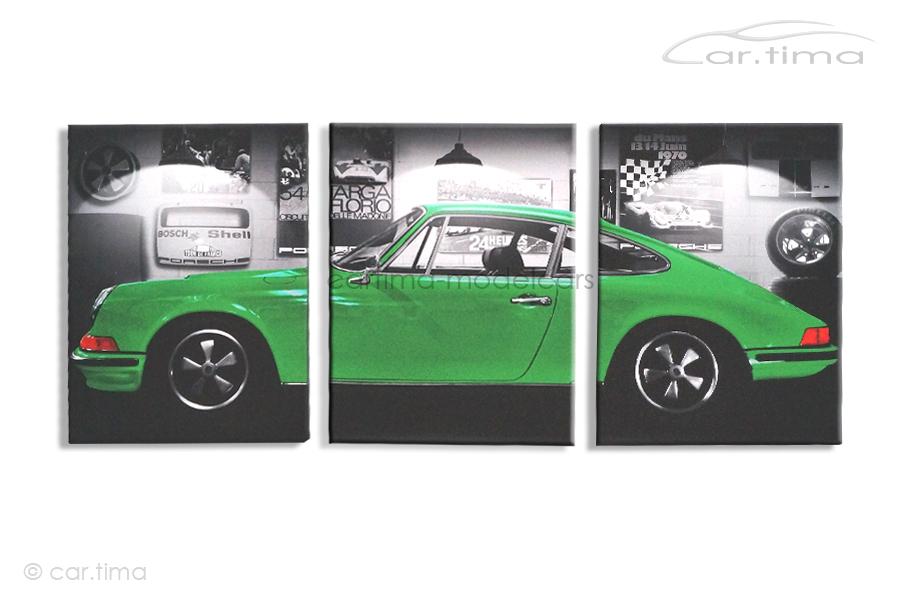 Kunstdruck auf Leinwand/Keilrahmen Porsche 911 S Vipergrün 136,5x60 cm