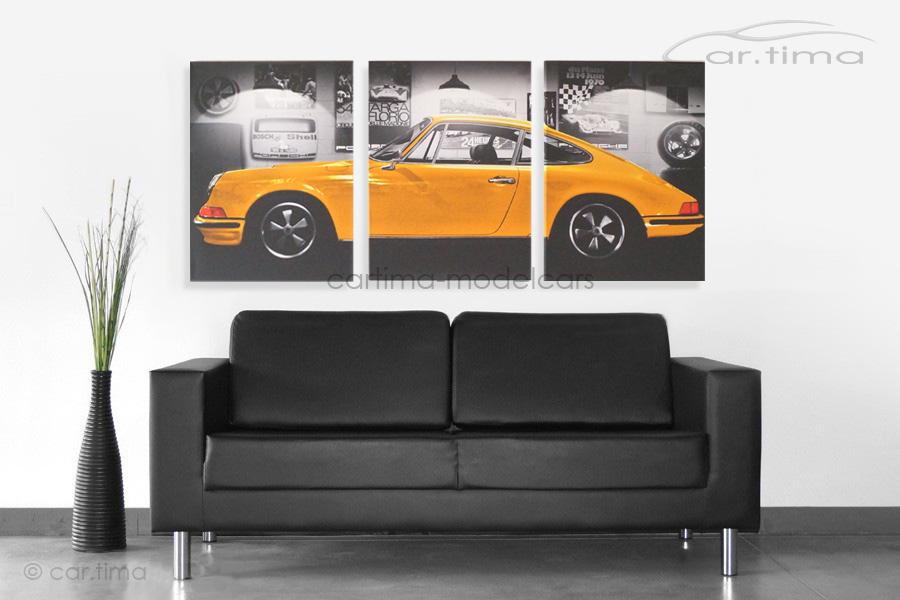 Kunstdruck auf Leinwand/Keilrahmen Porsche 911 S Signalgelb 136,5x60 cm
