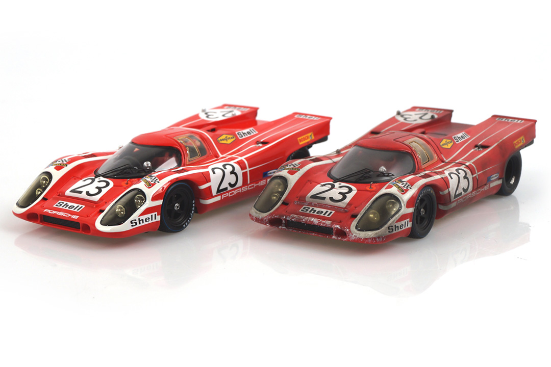 Set Porsche 917 Winner 24h Le Mans 1970 car.tima FINISH LINE - Originalsignatur Hans Herrmann