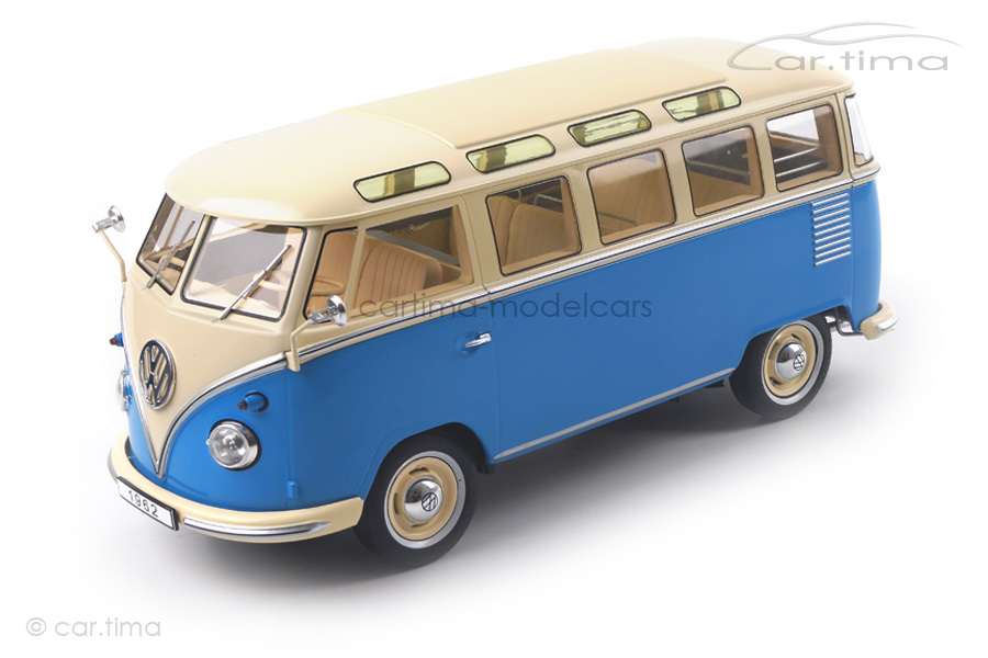 Volkswagen VW Bulli T1 Samba 1962 blau/creme KK Scale 1:18 KKDC180152