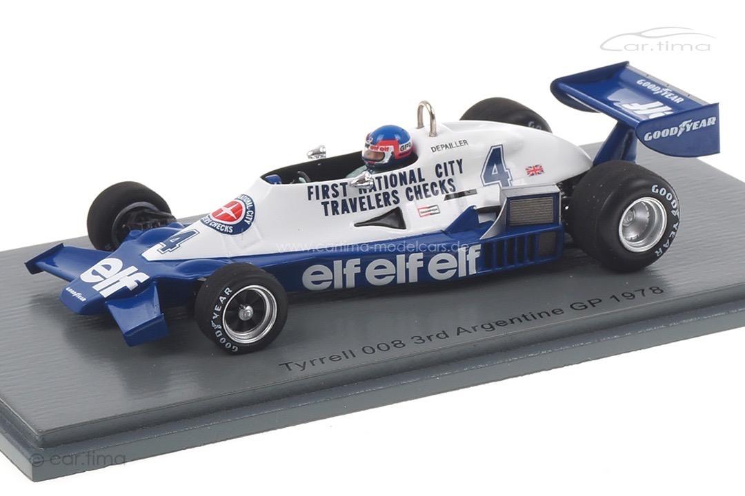 Tyrrell 008 GP Argentinien 1978 Patrick Depailler Spark 1:43 S7236
