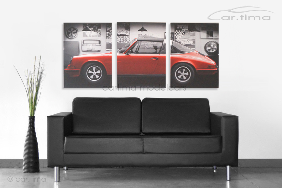 Kunstdruck auf Leinwand/Keilrahmen Porsche 911 S Polorot 136,5x60 cm